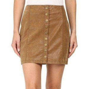 FREE PEOPLE OH Snap faux leather brown skirt